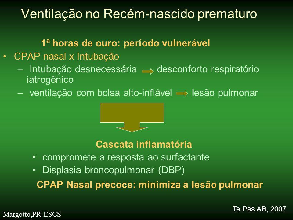 1ª horas de ouro: período vulnerável •CPAP nasal x Intubação – Intubação desnecessária desconforto respiratório iatrogênico – ventilação com bolsa alt
