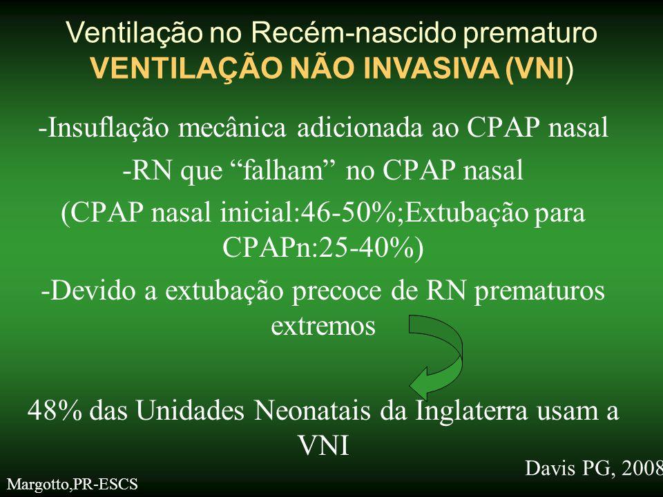 """-Insuflação mecânica adicionada ao CPAP nasal -RN que """"falham"""" no CPAP nasal (CPAP nasal inicial:46-50%;Extubação para CPAPn:25-40%) -Devido a extubaç"""