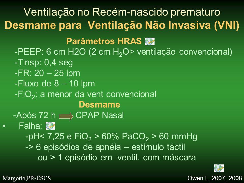 Parâmetros HRAS -PEEP: 6 cm H2O (2 cm H 2 O> ventilação convencional) -Tinsp: 0,4 seg -FR: 20 – 25 ipm -Fluxo de 8 – 10 lpm -FiO 2 : a menor da vent c