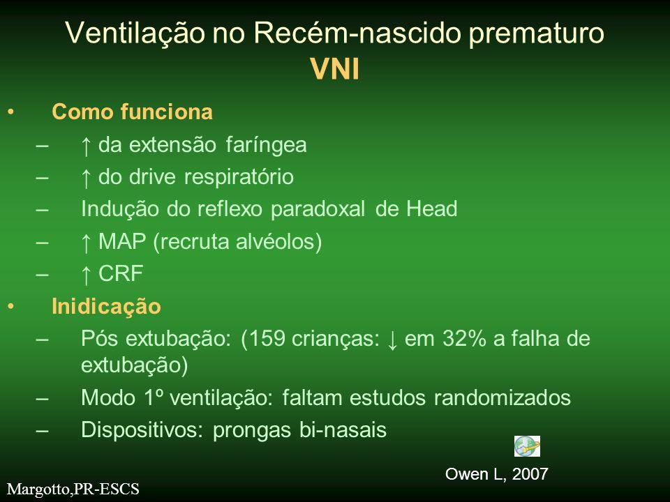 •Como funciona –↑ da extensão faríngea –↑ do drive respiratório –Indução do reflexo paradoxal de Head –↑ MAP (recruta alvéolos) –↑ CRF •Inidicação –Pó