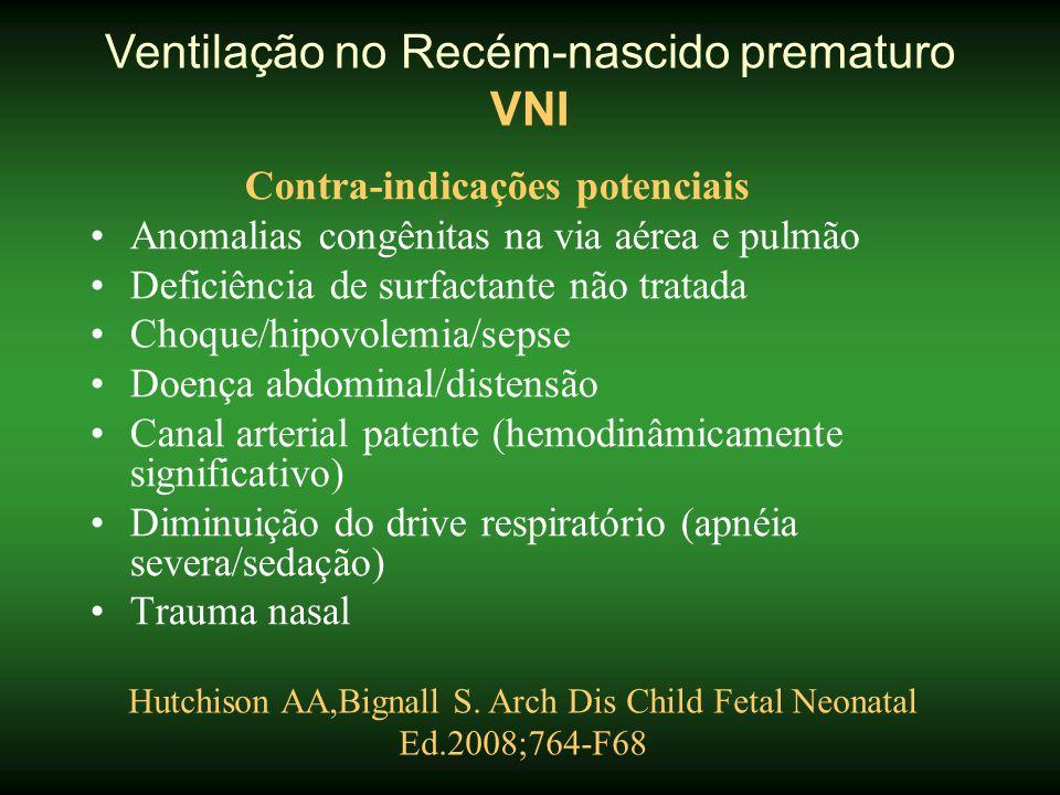 Contra-indicações potenciais •Anomalias congênitas na via aérea e pulmão •Deficiência de surfactante não tratada •Choque/hipovolemia/sepse •Doença abd