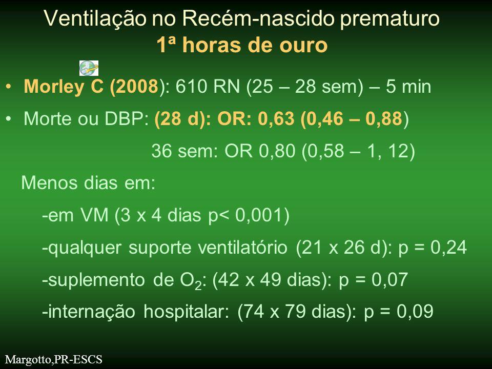 •Morley C (2008): 610 RN (25 – 28 sem) – 5 min •Morte ou DBP: (28 d): OR: 0,63 (0,46 – 0,88) 36 sem: OR 0,80 (0,58 – 1, 12) Menos dias em: -em VM (3 x