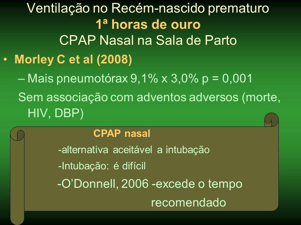 •Morley C et al (2008) –Mais pneumotórax 9,1% x 3,0% p = 0,001 Sem associação com adventos adversos (morte, HIV, DBP) Ventilação no Recém-nascido prem