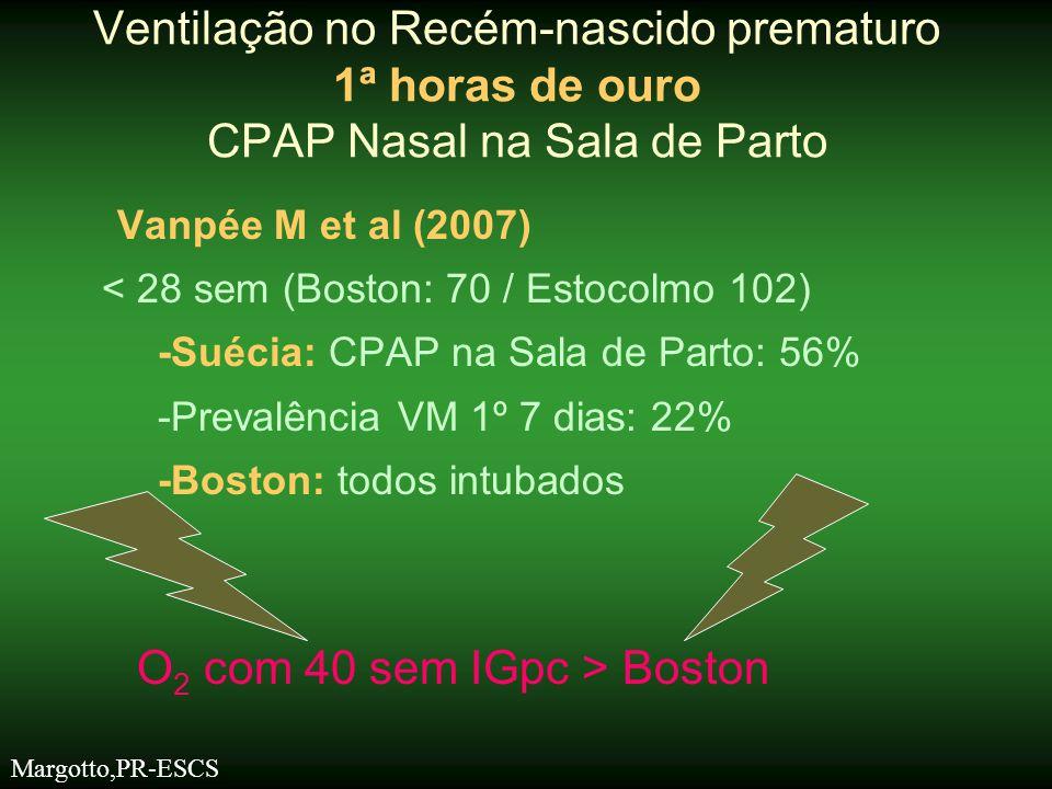 Vanpée M et al (2007) < 28 sem (Boston: 70 / Estocolmo 102) -Suécia: CPAP na Sala de Parto: 56% -Prevalência VM 1º 7 dias: 22% -Boston: todos intubado