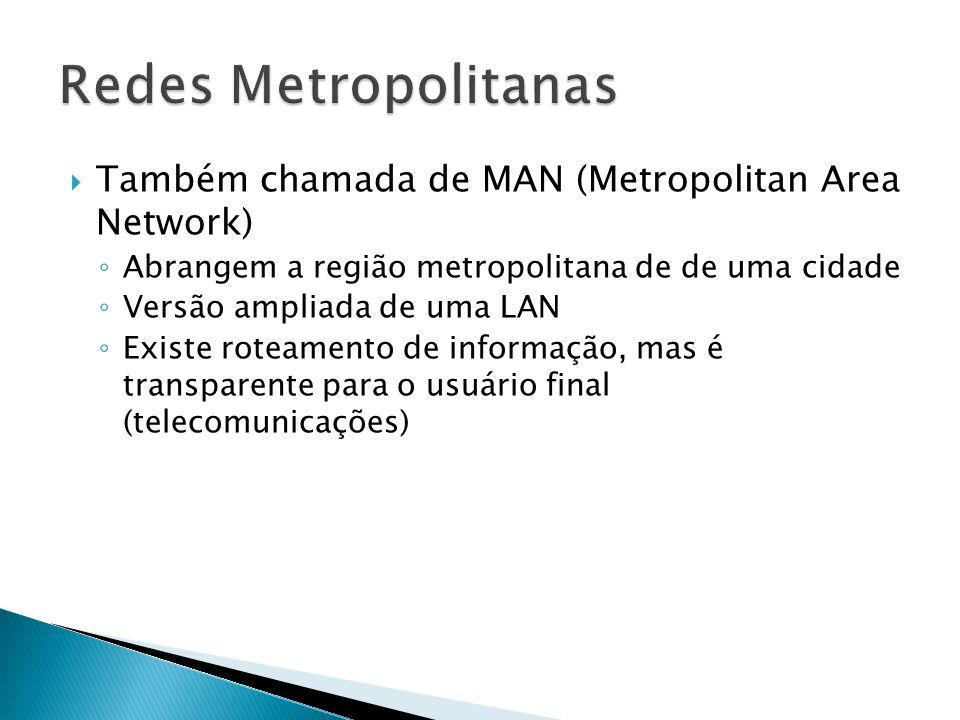  Também chamada de MAN (Metropolitan Area Network) ◦ Abrangem a região metropolitana de de uma cidade ◦ Versão ampliada de uma LAN ◦ Existe roteamento de informação, mas é transparente para o usuário final (telecomunicações)