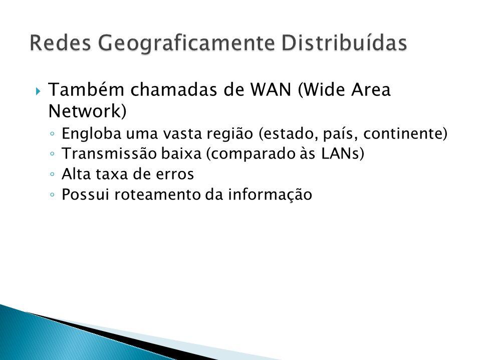  Também chamadas de WAN (Wide Area Network) ◦ Engloba uma vasta região (estado, país, continente) ◦ Transmissão baixa (comparado às LANs) ◦ Alta taxa