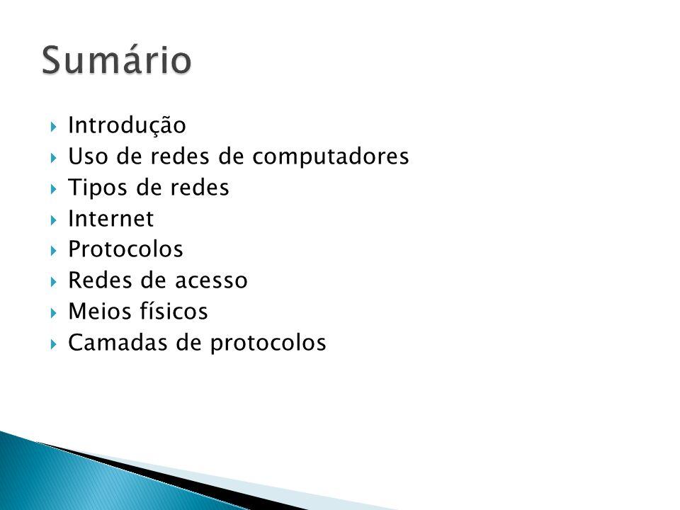  Introdução  Uso de redes de computadores  Tipos de redes  Internet  Protocolos  Redes de acesso  Meios físicos  Camadas de protocolos