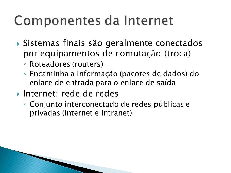  Sistemas finais são geralmente conectados por equipamentos de comutação (troca) ◦ Roteadores (routers) ◦ Encaminha a informação (pacotes de dados) do enlace de entrada para o enlace de saída  Internet: rede de redes ◦ Conjunto interconectado de redes públicas e privadas (Internet e Intranet)