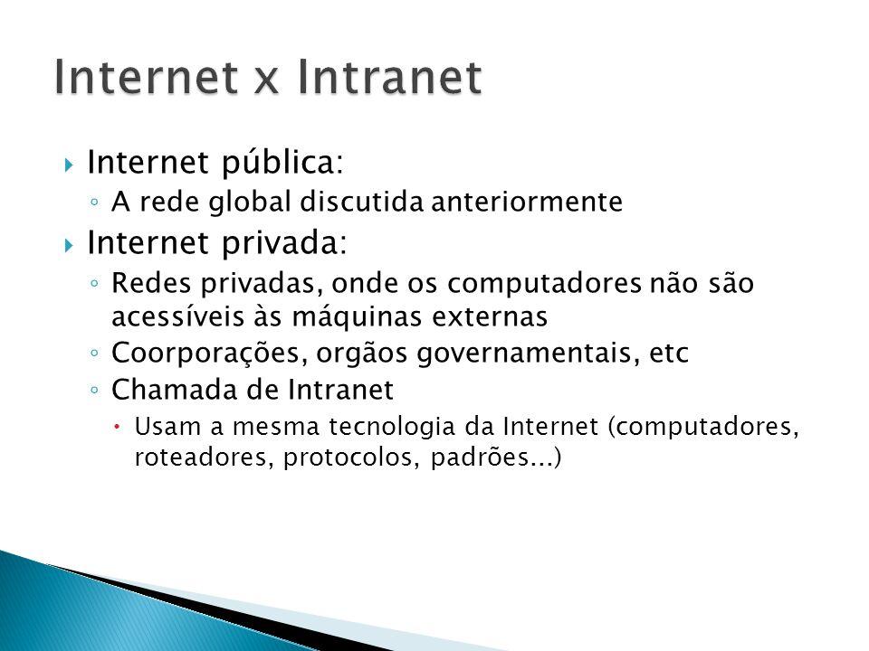  Internet pública: ◦ A rede global discutida anteriormente  Internet privada: ◦ Redes privadas, onde os computadores não são acessíveis às máquinas