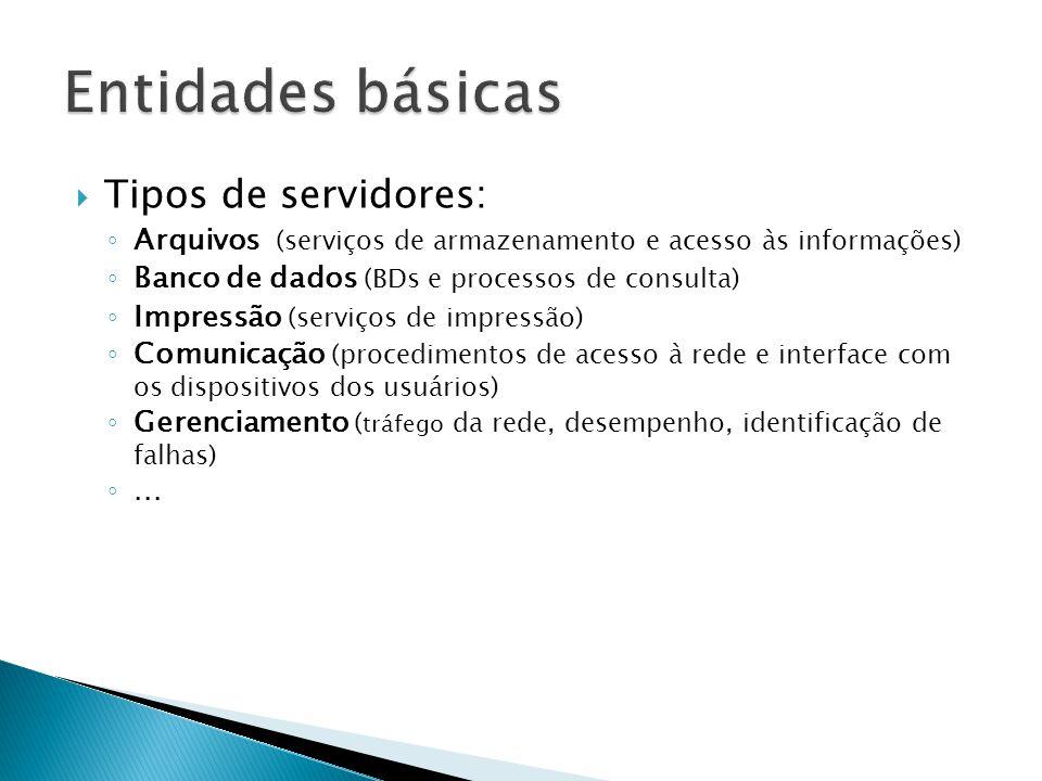  Tipos de servidores: ◦ Arquivos (serviços de armazenamento e acesso às informações) ◦ Banco de dados (BDs e processos de consulta) ◦ Impressão (serviços de impressão) ◦ Comunicação (procedimentos de acesso à rede e interface com os dispositivos dos usuários) ◦ Gerenciamento ( tráfego da rede, desempenho, identificação de falhas) ◦...