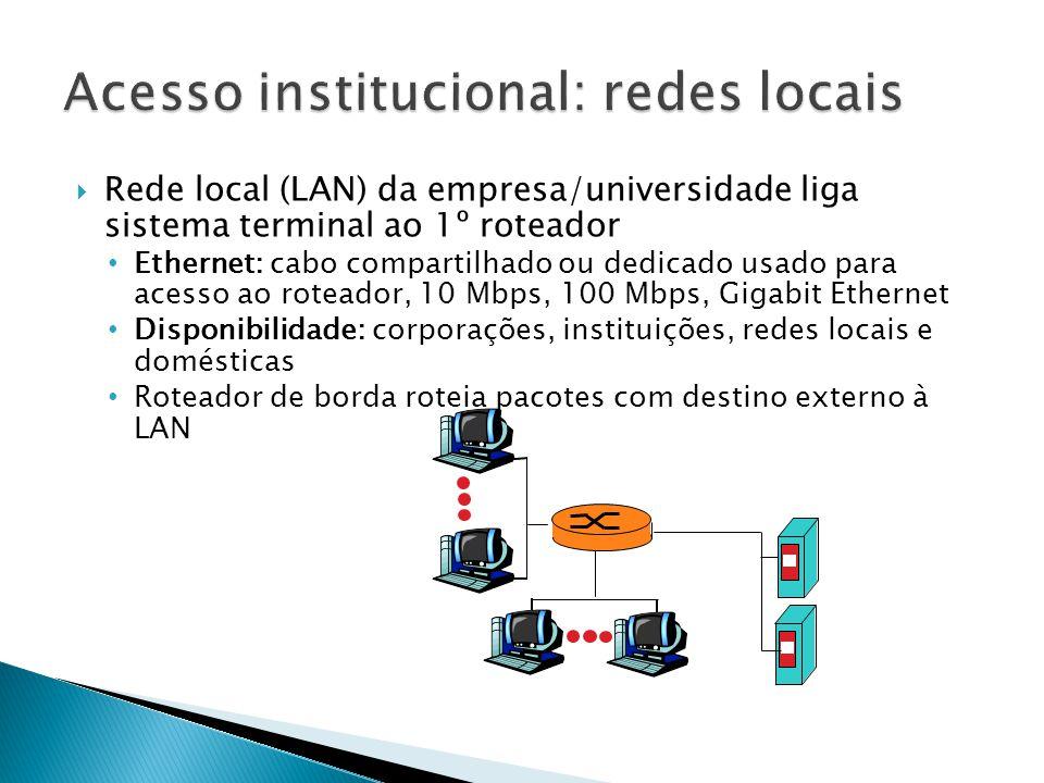  Rede local (LAN) da empresa/universidade liga sistema terminal ao 1º roteador • Ethernet: cabo compartilhado ou dedicado usado para acesso ao roteador, 10 Mbps, 100 Mbps, Gigabit Ethernet • Disponibilidade: corporações, instituições, redes locais e domésticas • Roteador de borda roteia pacotes com destino externo à LAN