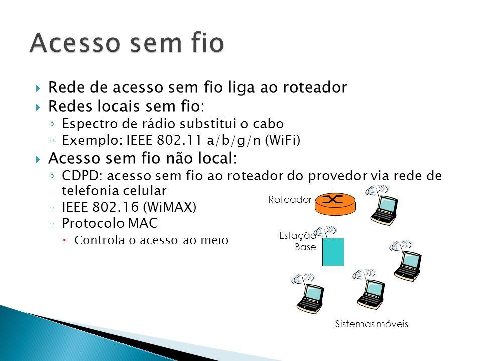  Rede de acesso sem fio liga ao roteador  Redes locais sem fio: ◦ Espectro de rádio substitui o cabo ◦ Exemplo: IEEE 802.11 a/b/g/n (WiFi)  Acesso sem fio não local: ◦ CDPD: acesso sem fio ao roteador do provedor via rede de telefonia celular ◦ IEEE 802.16 (WiMAX) ◦ Protocolo MAC  Controla o acesso ao meio Estação Base Sistemas móveis Roteador