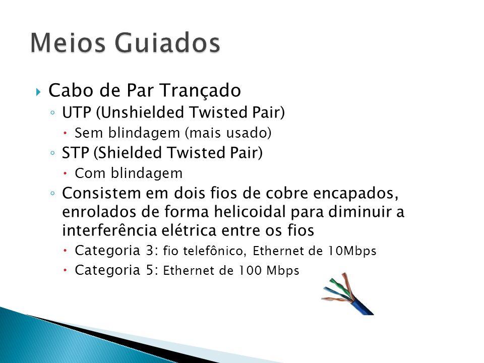  Cabo de Par Trançado ◦ UTP (Unshielded Twisted Pair)  Sem blindagem (mais usado) ◦ STP (Shielded Twisted Pair)  Com blindagem ◦ Consistem em dois fios de cobre encapados, enrolados de forma helicoidal para diminuir a interferência elétrica entre os fios  Categoria 3: fio telefônico, Ethernet de 10Mbps  Categoria 5: Ethernet de 100 Mbps