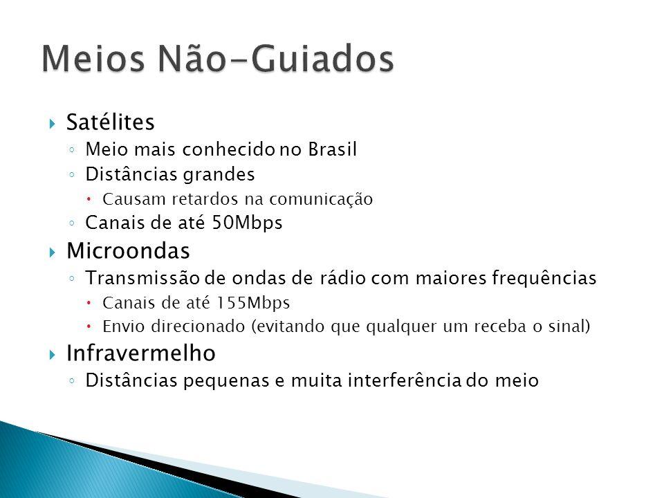  Satélites ◦ Meio mais conhecido no Brasil ◦ Distâncias grandes  Causam retardos na comunicação ◦ Canais de até 50Mbps  Microondas ◦ Transmissão de