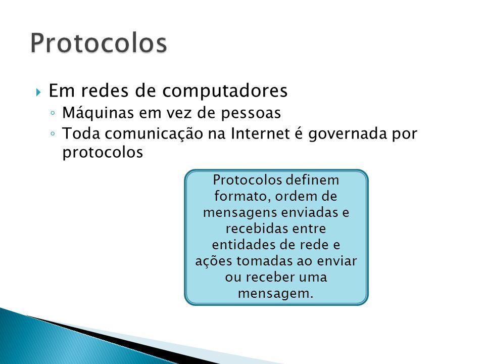  Em redes de computadores ◦ Máquinas em vez de pessoas ◦ Toda comunicação na Internet é governada por protocolos Protocolos definem formato, ordem de mensagens enviadas e recebidas entre entidades de rede e ações tomadas ao enviar ou receber uma mensagem.