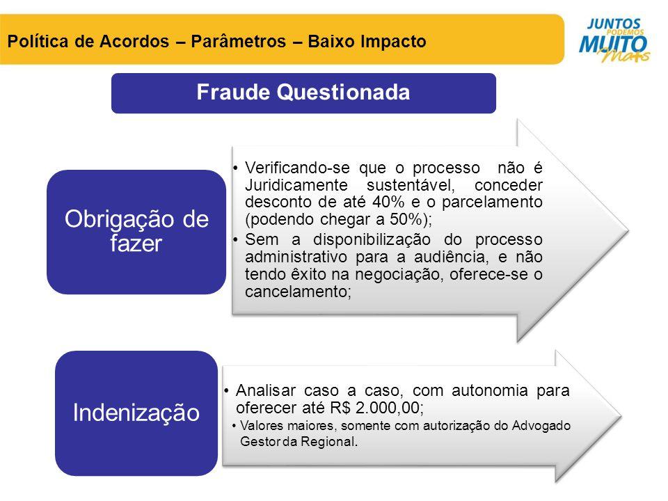 Política de Acordos – Parâmetros – Baixo Impacto •Verificando-se que o processo não é Juridicamente sustentável, conceder desconto de até 40% e o parc