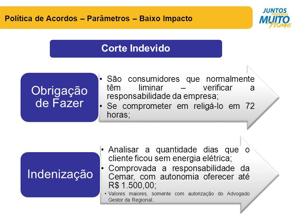 Corte Indevido Política de Acordos – Parâmetros – Baixo Impacto •São consumidores que normalmente têm liminar – verificar a responsabilidade da empres
