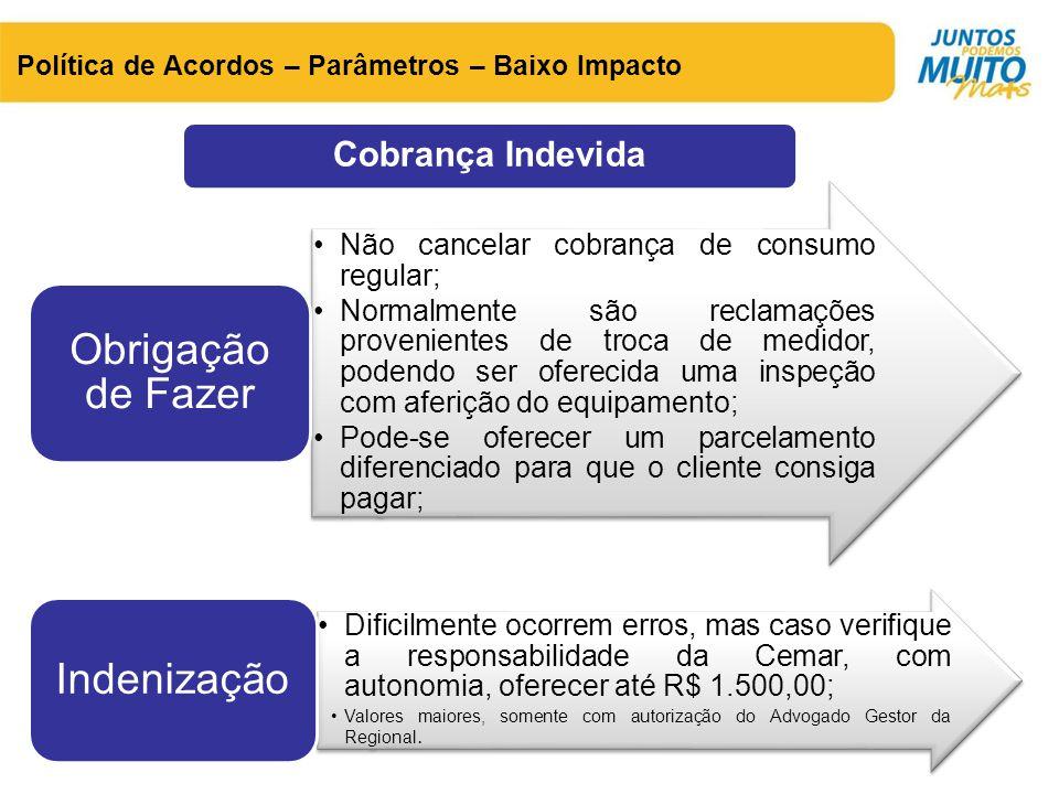 Cobrança Indevida Política de Acordos – Parâmetros – Baixo Impacto •Não cancelar cobrança de consumo regular; •Normalmente são reclamações proveniente