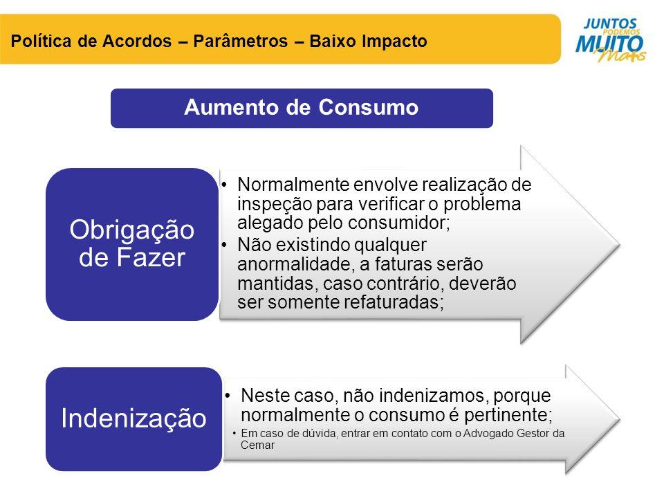Aumento de Consumo Política de Acordos – Parâmetros – Baixo Impacto •Normalmente envolve realização de inspeção para verificar o problema alegado pelo