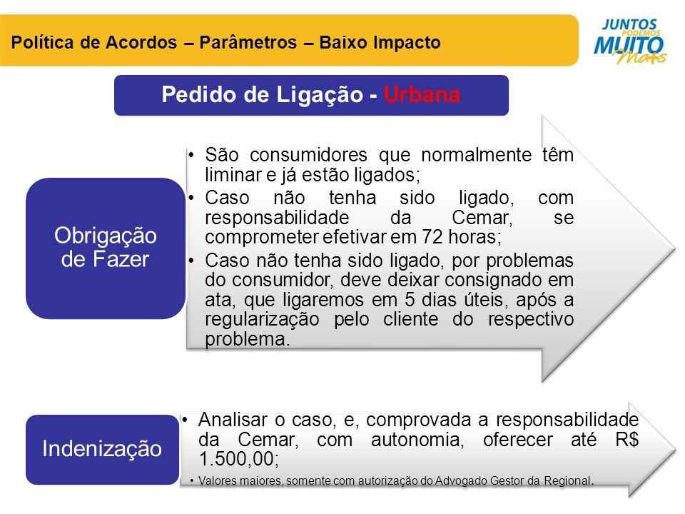 Pedido de Ligação - Urbana Política de Acordos – Parâmetros – Baixo Impacto •São consumidores que normalmente têm liminar e já estão ligados; •Caso nã