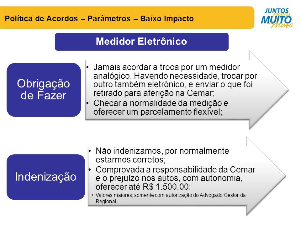 Medidor Eletrônico Política de Acordos – Parâmetros – Baixo Impacto •Jamais acordar a troca por um medidor analógico. Havendo necessidade, trocar por