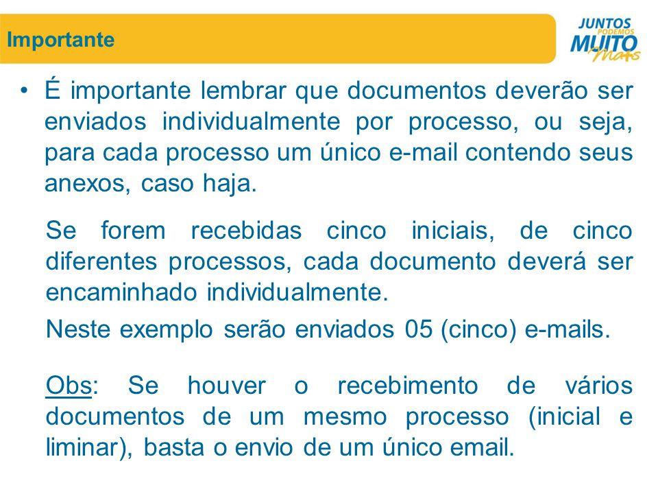 Importante •É importante lembrar que documentos deverão ser enviados individualmente por processo, ou seja, para cada processo um único e-mail contend