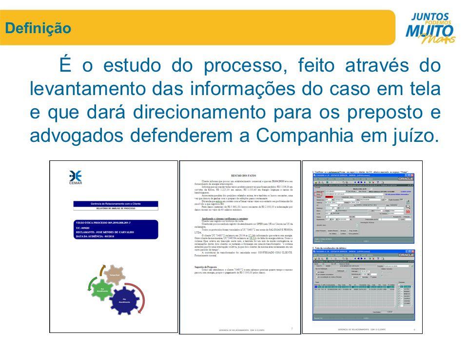 Definição É o estudo do processo, feito através do levantamento das informações do caso em tela e que dará direcionamento para os preposto e advogados