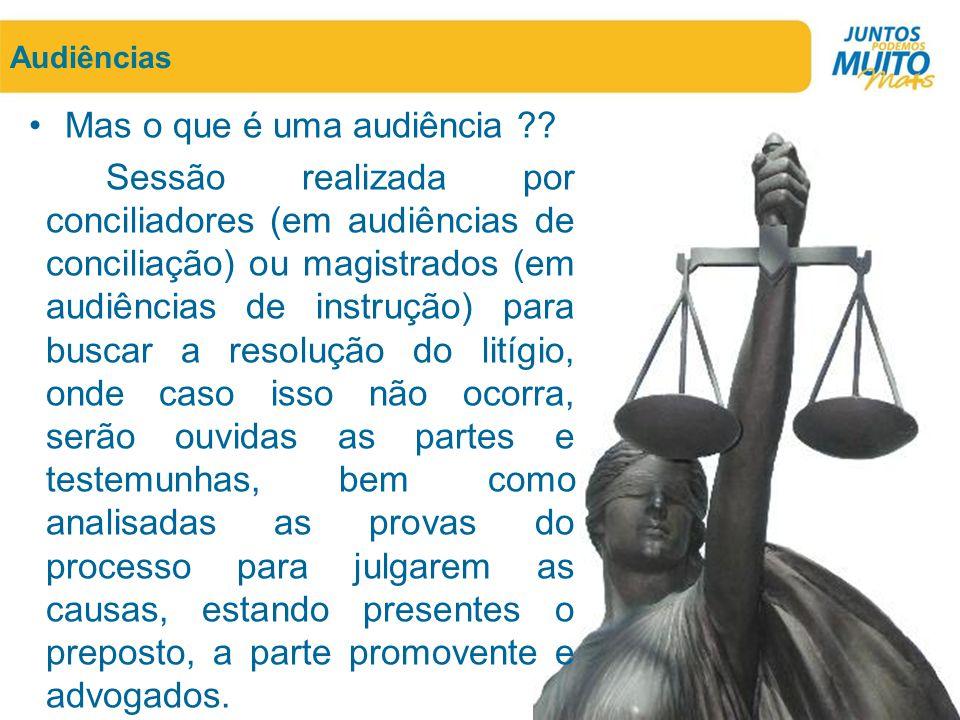 Audiências •Mas o que é uma audiência ?? Sessão realizada por conciliadores (em audiências de conciliação) ou magistrados (em audiências de instrução)