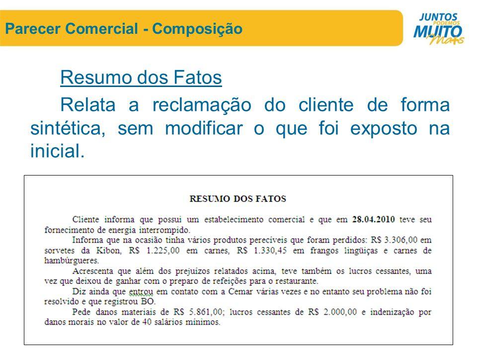 Parecer Comercial - Composição Resumo dos Fatos Relata a reclamação do cliente de forma sintética, sem modificar o que foi exposto na inicial.