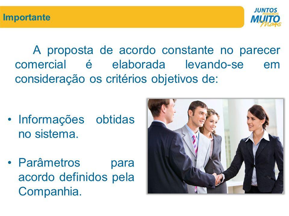 Importante A proposta de acordo constante no parecer comercial é elaborada levando-se em consideração os critérios objetivos de: •Informações obtidas