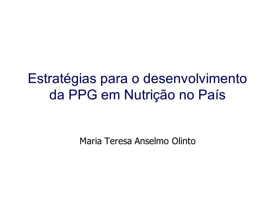 Fortalecer a Ciência da Nutrição no Brasil •Estratégias: 1Incrementar a produção científica dos PPGs em Nutrição; 2 Integrar o máximo possível os PPGs que produzem a ciência da nutrição; 3 Ampliar a abrangência em nível regional e nacional da PPG em Nutrição do país; 4 Diversificar a forma de gerar o conhecimento na PPG em Nutrição; 5 Superar as falhas apontadas nas autoavaliações e avaliações pelos pares (CAPES).