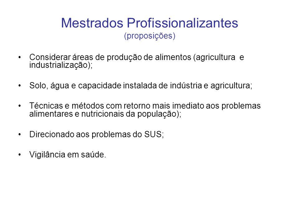 Mestrados Profissionalizantes (proposições) •Considerar áreas de produção de alimentos (agricultura e industrialização); •Solo, água e capacidade inst