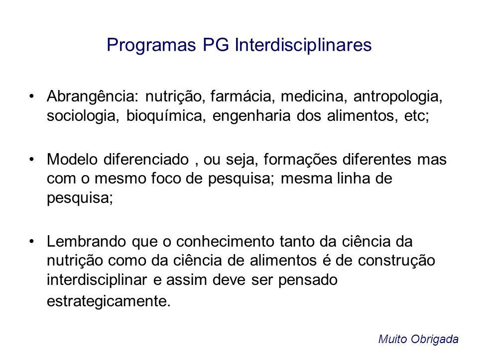 Programas PG Interdisciplinares •Abrangência: nutrição, farmácia, medicina, antropologia, sociologia, bioquímica, engenharia dos alimentos, etc; •Mode