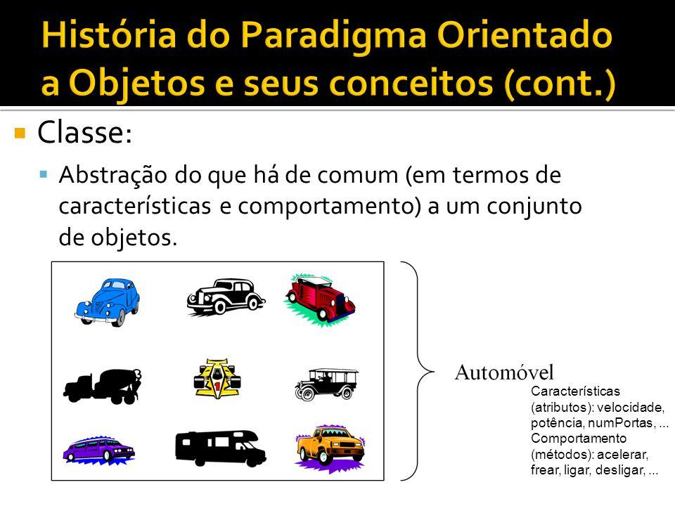  Classe:  Abstração do que há de comum (em termos de características e comportamento) a um conjunto de objetos. Características (atributos): velocid
