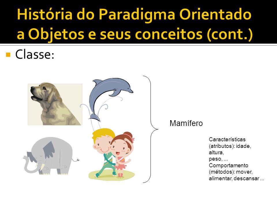  Classe: Características (atributos): idade, altura, peso,... Comportamento (métodos): mover, alimentar, descansar... Mamífero