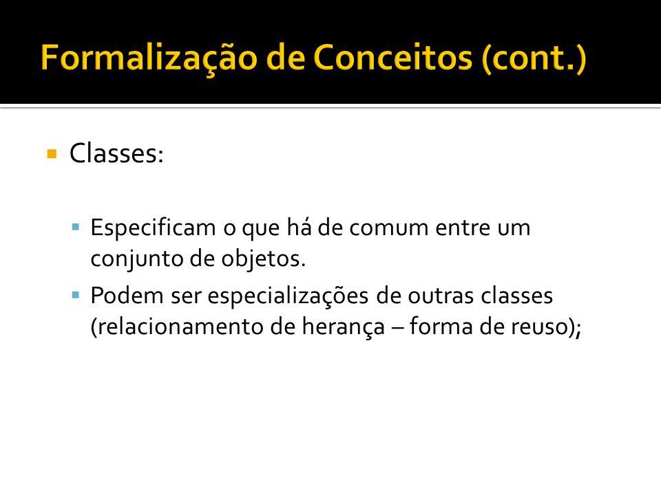  Classes:  Especificam o que há de comum entre um conjunto de objetos.  Podem ser especializações de outras classes (relacionamento de herança – fo