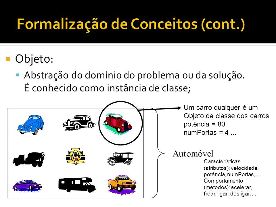  Objeto:  Abstração do domínio do problema ou da solução. É conhecido como instância de classe; Características (atributos): velocidade, potência, n