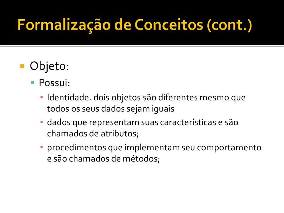  Objeto:  Possui: ▪ Identidade. dois objetos são diferentes mesmo que todos os seus dados sejam iguais ▪ dados que representam suas características