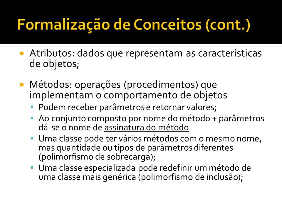  Atributos: dados que representam as características de objetos;  Métodos: operações (procedimentos) que implementam o comportamento de objetos  Po