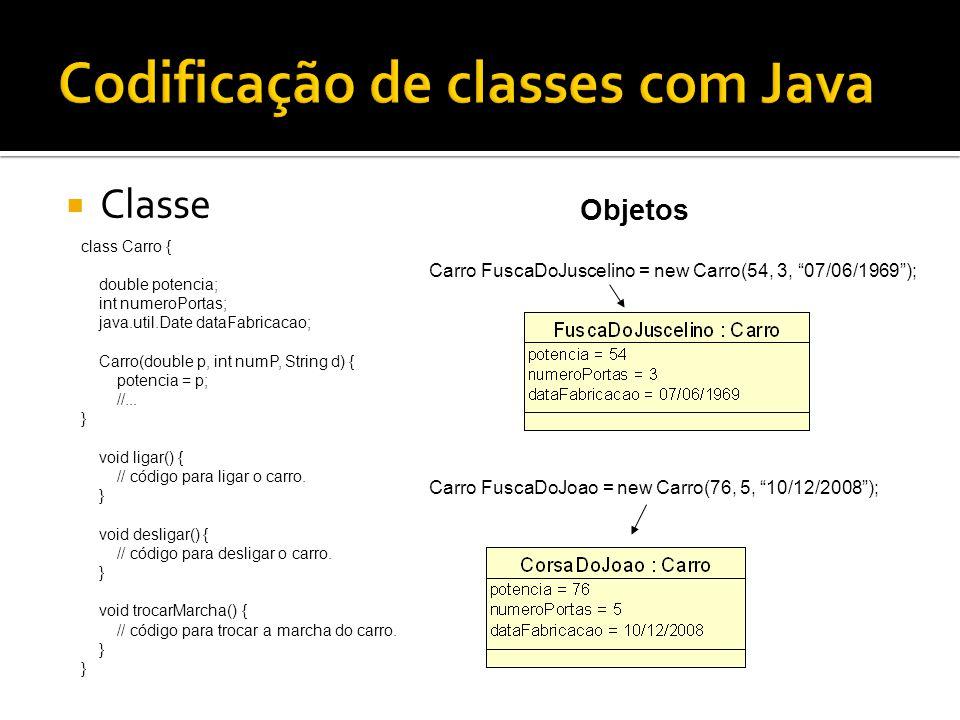  Classe Objetos class Carro { double potencia; int numeroPortas; java.util.Date dataFabricacao; Carro(double p, int numP, String d) { potencia = p; /