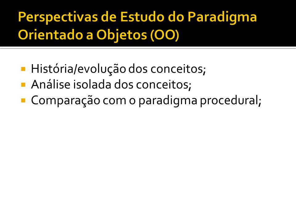  História/evolução dos conceitos;  Análise isolada dos conceitos;  Comparação com o paradigma procedural;
