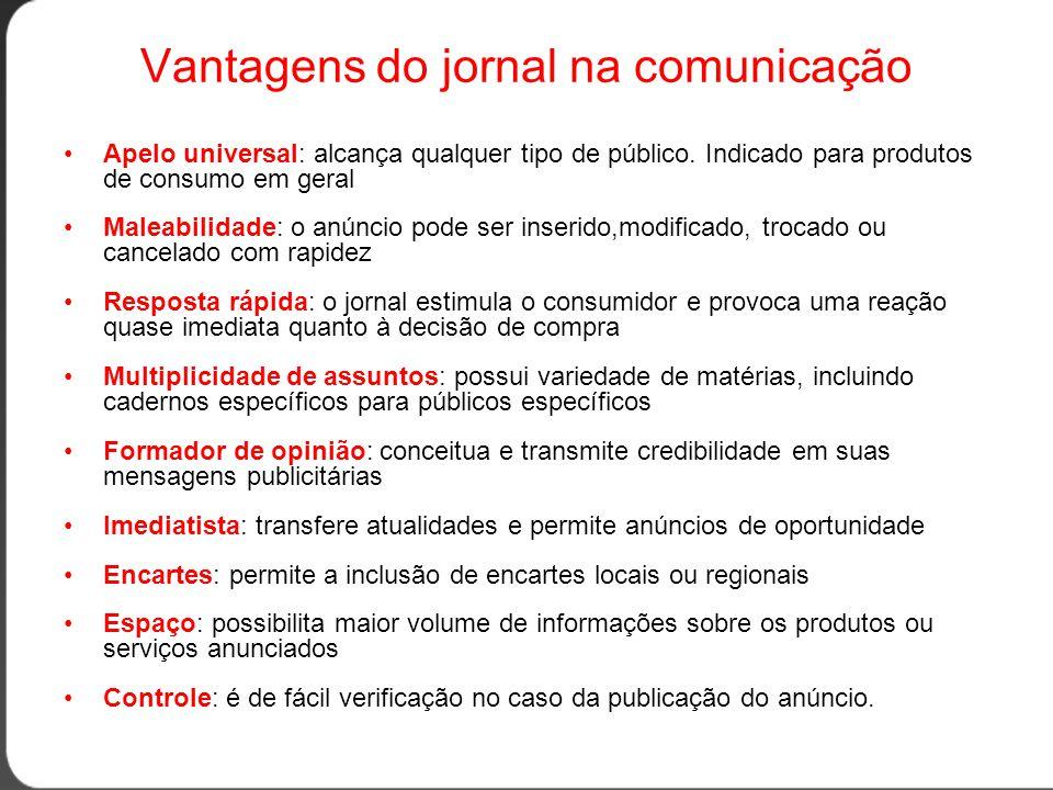 Vantagens do jornal na comunicação •Apelo universal: alcança qualquer tipo de público.
