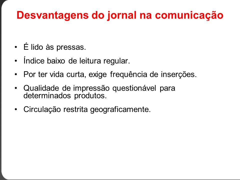 Desvantagens do jornal na comunicação •É lido às pressas.