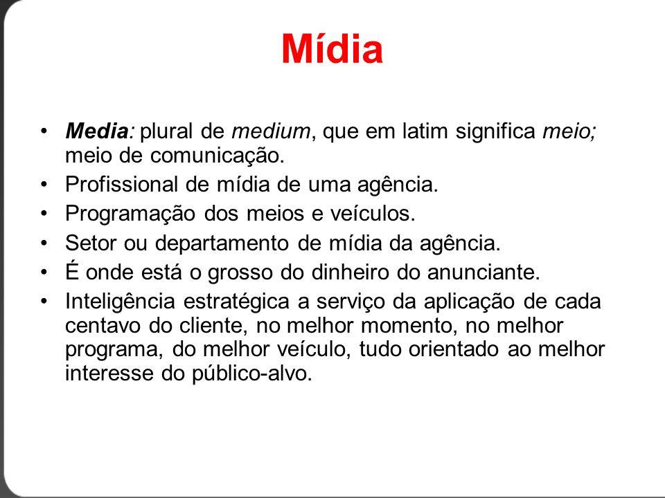 Meio e Veículo •Meio = meios de comunicação (TV, rádio, revistas, jornais etc.) •Veículo = nome específico do meio (TV Globo, Rádio Bandeirantes, Veja, Folha de São Paulo etc.)