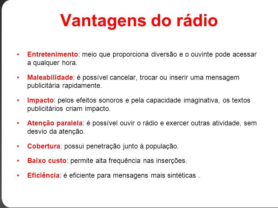 Vantagens do rádio •Entretenimento: meio que proporciona diversão e o ouvinte pode acessar a qualquer hora.