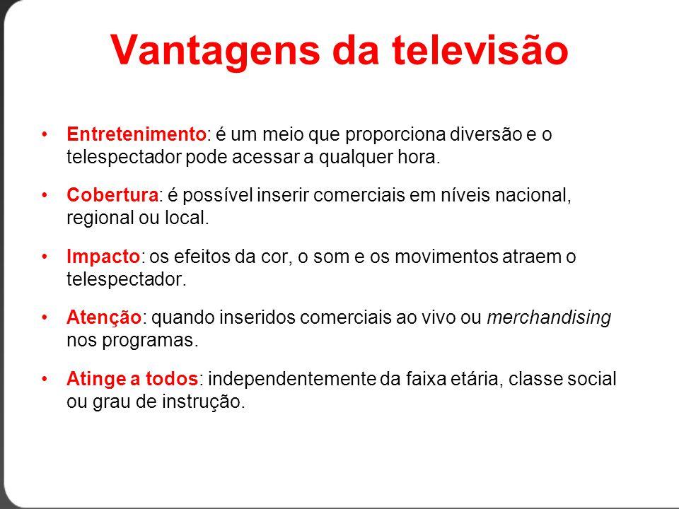Vantagens da televisão •Entretenimento: é um meio que proporciona diversão e o telespectador pode acessar a qualquer hora.