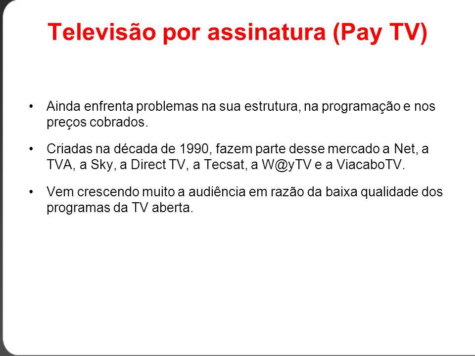 Televisão por assinatura (Pay TV) •Ainda enfrenta problemas na sua estrutura, na programação e nos preços cobrados.