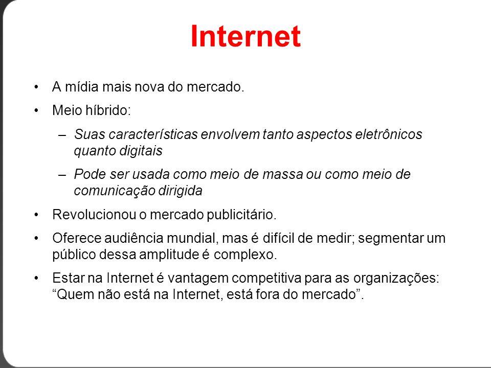 Internet •A mídia mais nova do mercado.