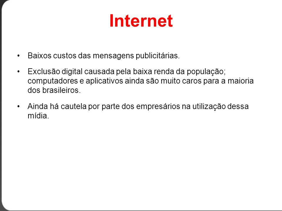 Internet •Baixos custos das mensagens publicitárias.