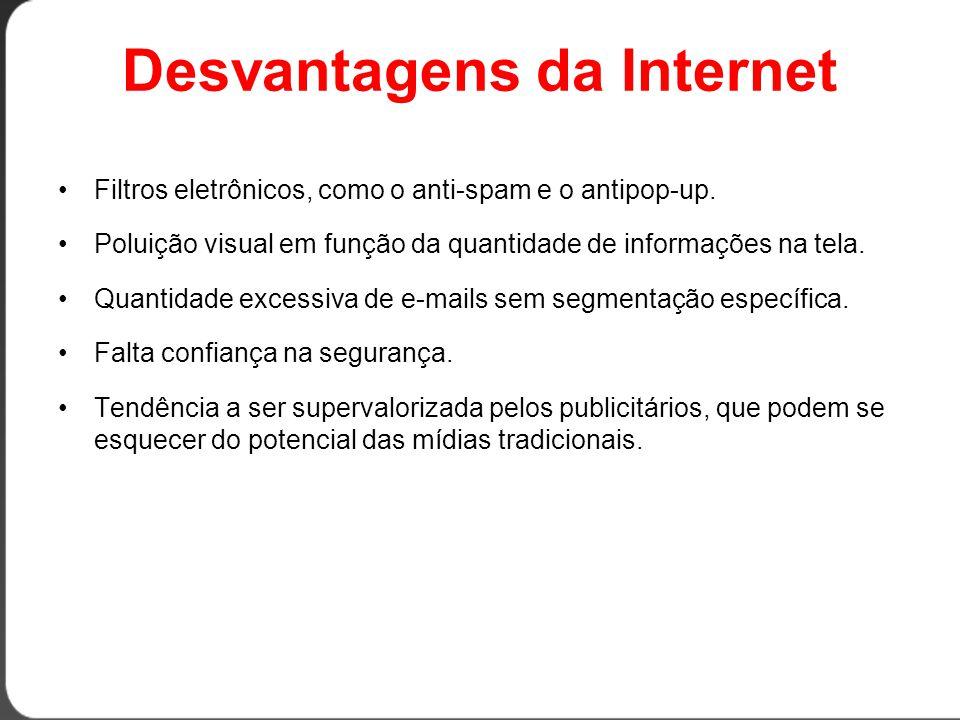 Desvantagens da Internet •Filtros eletrônicos, como o anti-spam e o antipop-up.